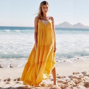 Free People Penelope Tiered Ruffle Lace Maxi Dress